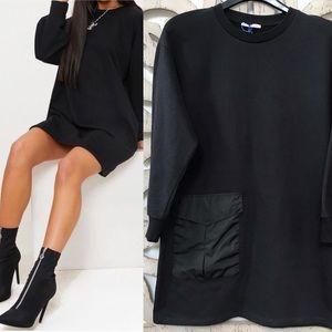 ZARA TRAFALUC BLACK OVERSIZED SWEATER DRESS